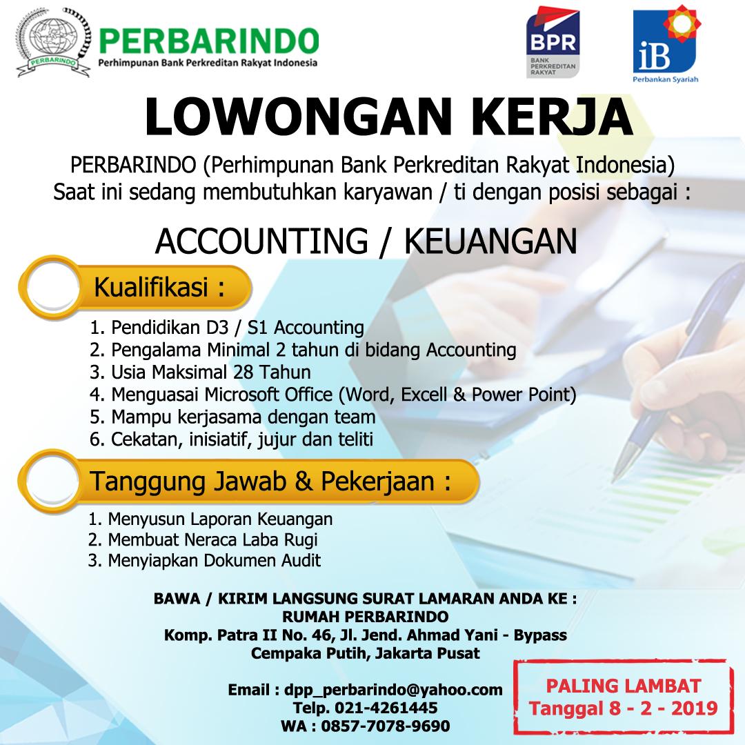 Lowongan Pekerjaan Staff Accounting di PERBARINDO PUSAT ...
